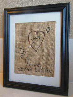 Valentine's Day Gift for him or her - Love Never Fails Burlap Print...custom personalization with couple's initials