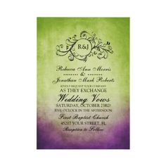 Rustic Green Purple Bohemian Wedding Invitation  This classy sage and lime green and violet lavender purple colored invitation features a beautiful monogram flourish swirls against an vintage inspired grunge shabby chic background. Elegant text is completely customizable so you can use this for other events such as bridal shower, wedding shower, vow renewal during the spring or summer