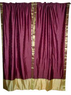 2 Sari Curtains Eggplant Purple Art Silk Saree Drapes Window Panels 95