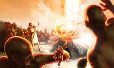 Fire from heaven consumes Elijah's sacrifice as prophets of Baal look on