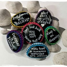 Positive Mind. Positive Life. Minimum order quantity = 3 message stones. Made to order. When placing your order, please include a note outlining your request. You pick your own message and choice of color for dotted border. Pictures show examples. Visualizing positive words