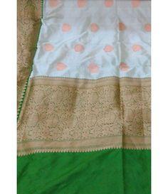 Off White Handloom Banarasi Katan Silk Saree