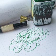Noodler's General of the Armies. It's much greener than I expected. It's supposed to turn to steel blue when dry but mine's staying green. I did dilute it with a bit of water and used a dip pen so that might have something to do with it. #noodlersink #calligraphy #calligraphysg #flourishing #flourishforum #pointedpen #dippen #vintagenibs