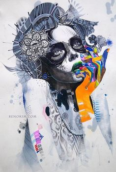 Kai Fine Art is an art website, shows painting and illustration works all over the world. Art And Illustration, Illustrations, Graffiti, Tableau Pop Art, Inspiration Art, Art Graphique, Art Design, Skull Art, Oeuvre D'art
