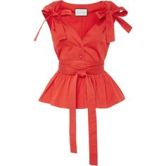 Alexis Roza Bows Top ($295) ❤ liked on Polyvore featuring tops, alexis, red, bow, shirts, peplum tops, bow tie shirt, bow top, ruched top and cap sleeve shirt