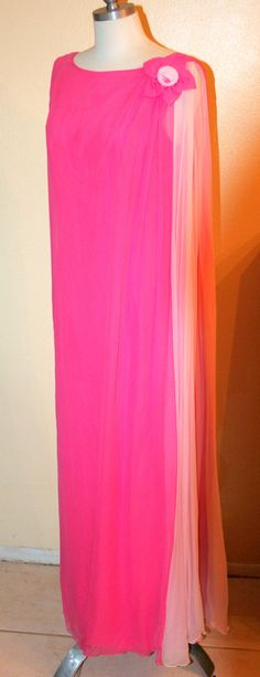 Bright Pink Vintage 60's Greek Goddess Gown by InspirationVintage, $70.00