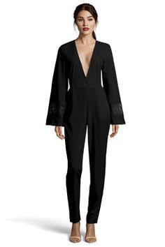 Boutique Laila Bell Sleeve Lace Trim Jumpsuit at boohoo.com