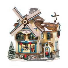 Dept 56 Snow Village Dutchman's Pancake House Windmill Rotates NEW Windmill Blades, Tiny Little Houses, Christmas Villages, Christmas Houses, Dept 56 Snow Village, The Pancake House, Light Building, Glitter Houses, Department 56