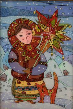 Christmas caroler. Painting on glass by Natalya Kuriy-Maksymiv. https://www.facebook.com/natalia.kuriy/media_set?set=a.290388800998416.58070.100000818945561&type=3