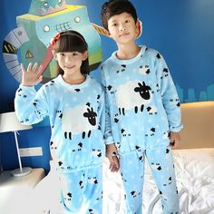 07d64d7751 2017 Winter Children Fleece Pajamas Warm Flannel Sleepwear Girls Loungewear  Coral Fleece Kids pijamas Homewear Winter Pyjama