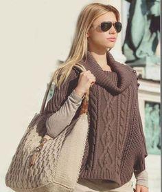 Пуловер-пончо с рукавами летучая мышь. Связать пончо спицами своими руками