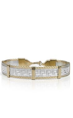 37761fbb7 The Greek Key Bracelet is created from beautiful Sterling silver. It has  exquisite deep cut etching, surrounded by 2 strands of flat Gold artist wire,  ...