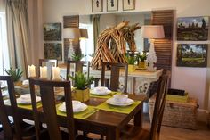 Luxury dining room with decorative driftwood horse as a feature. Angmering-on-Sea, West Sussex UK