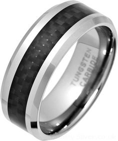 Tungsten and Black Carbon Fibre Ring. UK sizes N to Z+8 in stock.