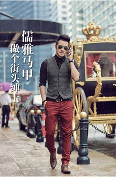 Our girls' vests and find out posh quilted gilets of top, made to keep someone fashionably sunny on cold days. Mens Tweed Waistcoat, Mens Fall, Men Style Tips, Suit And Tie, Gentleman Style, Business Fashion, Men Dress, Jun Liu, Color Pants