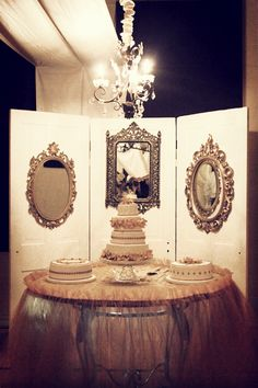 I think this vintage mirror door adds great effect to this cake table