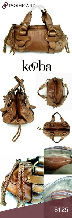 """KOOBA COGNAC BROWN """"FRANKIE""""  WHIPSTITCH SATCHEL KOOBA COGNAC BROWN """"FRANKIE"""" WHIPSTITCH SATCHEL  Pre-Loved /See Last Pic for Description Gorgeous, Well  Made , Sturdy Leather Kooba Satchel w/Antique Brass Accents & Beautiful Suede Lining No Rips or Tears in Either Suede Lining or Leather Exterior Some Darkening on Handles but Not Much  (see pic) Brass is Starting to Age on Logo This is NOT a New Bag, but in my Opinion, in Very Good Condition Approx Meas;    13""""L X 8"""" H X 7.5"""" W Pls See All…"""