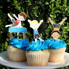 Gymnastics Party Boy Cupcake Toppers Set of 12 by PaperPartyParade, $6.00