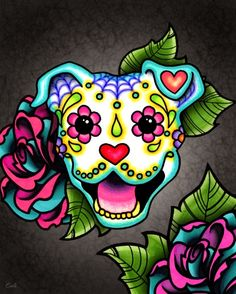 Day of the Dead Smiling Pit Bull Sugar Skull Dog Art Print