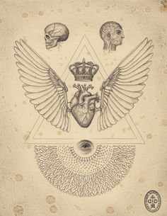 Combining traditional anatomical drawing and biological illustration with sacred geometry, chemistry, and mathematical principles, Tuscon artist Daniel Martinez Diaz creates precise, detailed works th La Santa Muerte Tattoo, Simbolos Tattoo, Sacred Geometry Tattoo, Esoteric Art, Neue Tattoos, Occult Art, Symbolic Tattoos, Sacred Art, Science Art