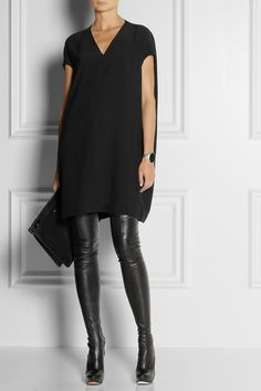 Fierce! Thigh high #RolandMouret boots with #RickOwens tunic. Rick Owens | Cady tunic | NET-A-PORTER.COM