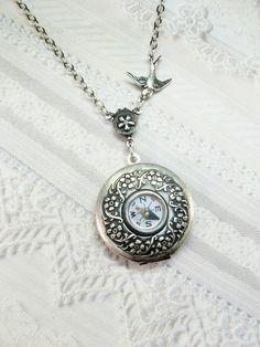 Silver Locket Necklace - Silver Compass Locket  - Steampunk Locket by BirdzNbeez. $26.00 via Etsy.