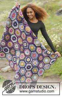 "Boho Spell / DROPS 171-59 - Crochet DROPS blanket with hexagons in ""Karisma"". - Free pattern by DROPS Design"