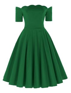 1950s Vintage Style Off Shoulder Swing Hearts Will Melt Scallop Green Dress