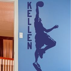 """Alphabet Garden Designs Dunking Basketball Player Personalized Wall Decal Color: Mustard, Size: 49"""" H x 22"""" W"""
