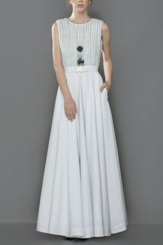 Whirl sky blue cotton denim gown with hand woven braided embroidery bodice