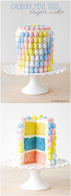 Make a beautiful Easter cake for spring and decorate the layer cake with Cadbury Mini Eggs.