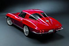The 1963 Corvette Stingray, with its distinctive split rear window, which lasted as part of the design for just one year. (General Motors Heritage Center, via The Wall Street Journal).