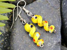 Little yellow worm earrings Tiny Happy Lampwork by cuteandfun