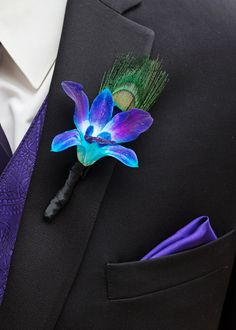 Purple-Blue Singapore Orchid  Boutonniere with Peacock Feather