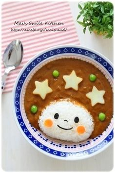 日本人のごはん/お弁当 Japanese meals/Bento 女の子カレーライス curry and rice prince