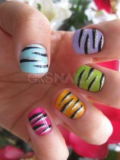 Multicolored zebra nails!