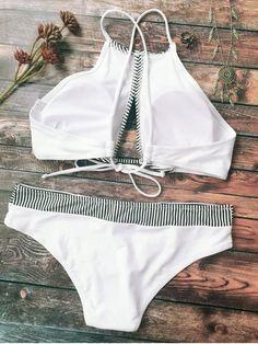 Stripe High Neck Cutout Bikini - WHITE M