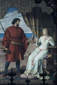 Tristan and Isolde drink the potion, August Spiess Tristan Und Isolde, Tristan Et Iseult, The Lady Of Shalott, Medieval Art, Neuschwanstein Castle, Art History, Mythology, Chivalry, Renaissance