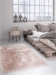 Hochflor Teppich Lea Rosa