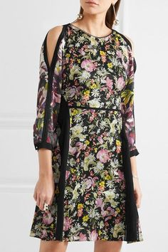 3.1 Phillip Lim - Meadow Flower Cold-shoulder Printed Silk-crepe Dress - Black - US12