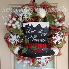 Let it Snow Mesh Christmas Wreath. $105.00, via Etsy.