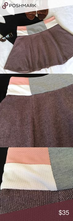 🆕Endless Rose textured color block zipper skirt Endless Rose textured knit circle skirt with color-blocking and back zipper detail. Chic and clean in a thicker, heavier weight fabric. Pair with a tucked in tank and sandals or heels. Excellent condition, like new. Size Medium. ASOS Skirts Mini