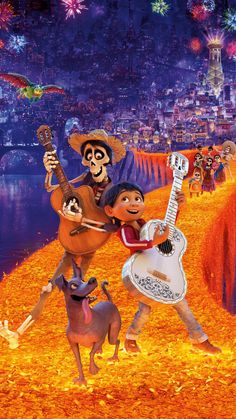 """Coco"" bursts with color and life, just like we might expect of a film by Pixar Animation Studios. After some not-so-impressive films lately, ""Coco"" brings back the originality and attention to detail exhibited last by ""Inside Out. Disney Pixar Coco, Disney And Dreamworks, Disney Art, Disney Movies, Disney Stuff, Benjamin Bratt, Streaming Movies, Hd Movies, Movies Online"