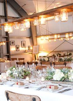 Wedding Reception, Table Settings, Mason Jars
