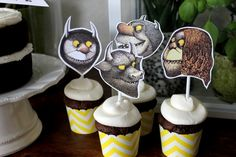 These adorable set of 12 wild thing character cupcake toppers will be the talk at your party! Hand cut and attached to small white straws for easy trimming for your desired length. Each topper is about 2-3 inches tall.