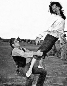 James Dean and Valley Keene (Elizabeth Taylor's double) show off their acrobatic skills on the set of Giant, 1955. (more tagged)