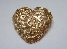 Vintage Anne Klein Gold Heart Brooch Costume Jewelry Love on Etsy, $7.20