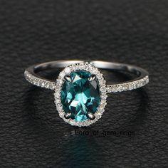 Oval Blue Tourmaline Engagement Ring Pave Diamond Wedding 14K White Gold 6x8mm
