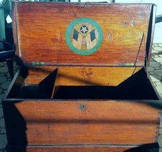 FANTASTIC ANTIQUE 1890'S 19th Century SEA CHEST with BECKET HANDLES.