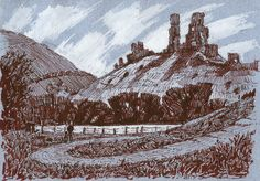 Corfe, Dorset, Castle, pen and ink, drawing Rob Adams, Corfe Castle, Ink, Drawings, Painting, Painting Art, Sketches, Paintings, India Ink